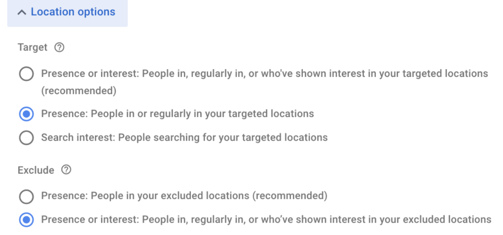 Location options in Google Ads
