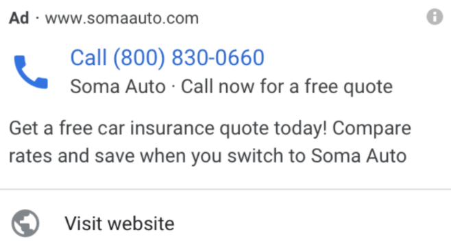 Example of call ads in Google Ads