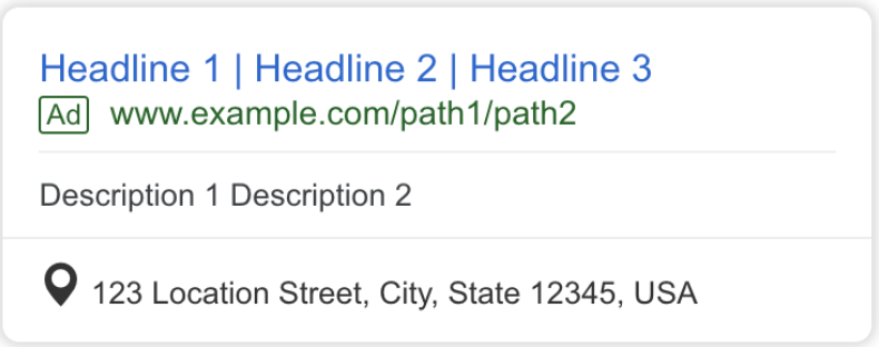 Example of location extensions in Google Ads