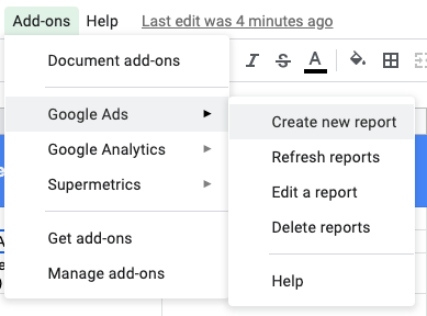 Google Ads Add On For Google Sheets