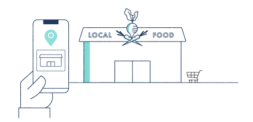 Illustration of a smartphone map to a local food store