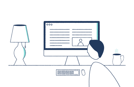Illustration of a marketer looking at a computer screen