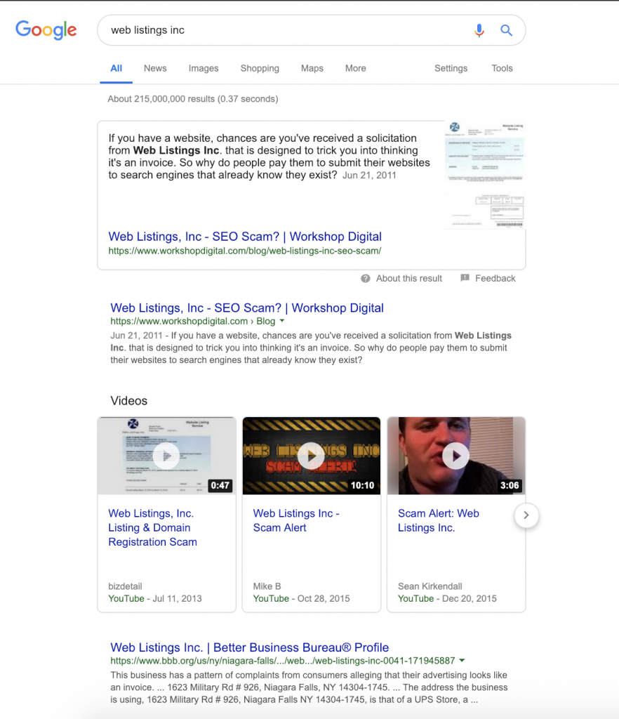 organic search results page