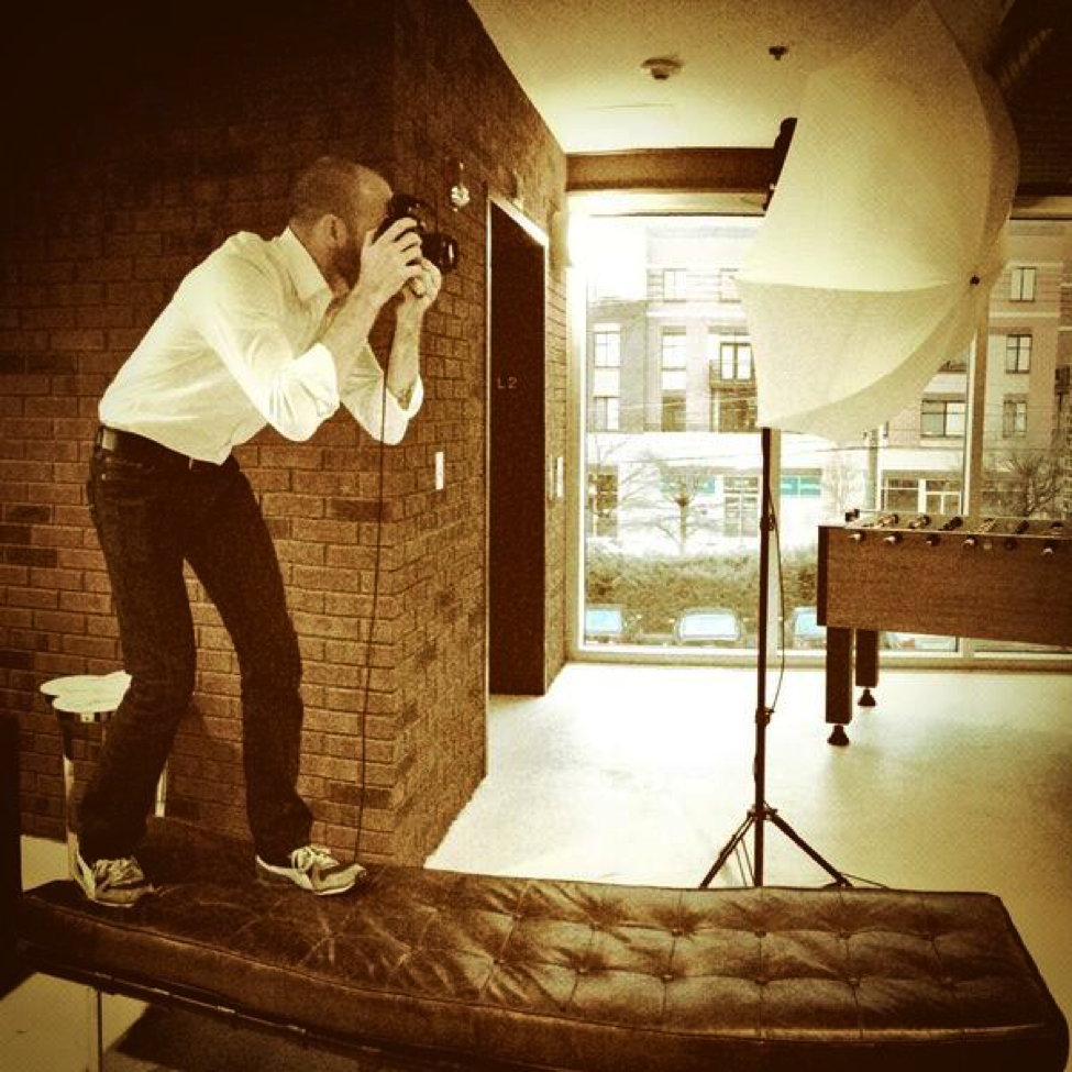 Photographer Caleb Keiter in action taking the DWS team headshots