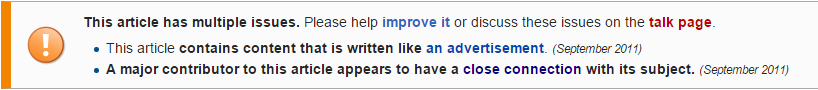 wikipedia company page advertisement warning