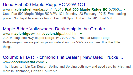 local keyword targeting serp example