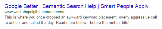 old school page title and meta description snippet