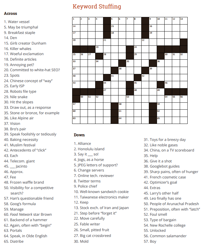 seo crossword puzzle