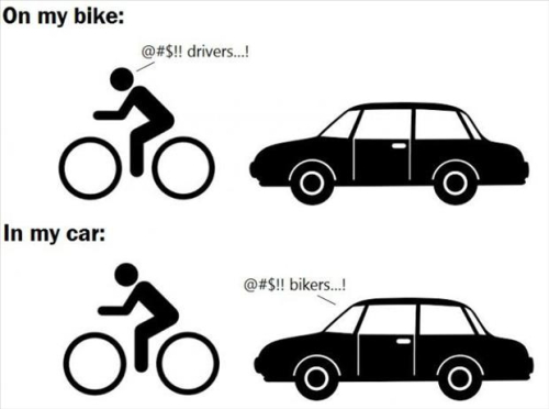 bicyclists and car drivers don't always share the road well